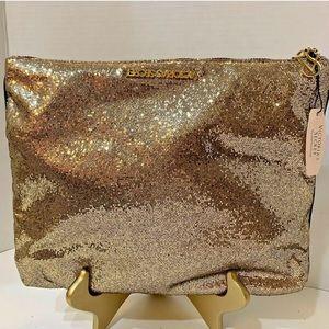 NWT Victoria Secret Gold Sparkle Clutch Ltd Ed